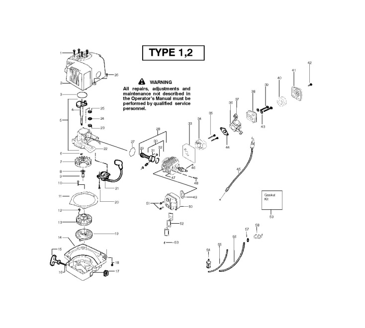 mcculloch t55 952715450 hedge trimmer engine spare parts diagram