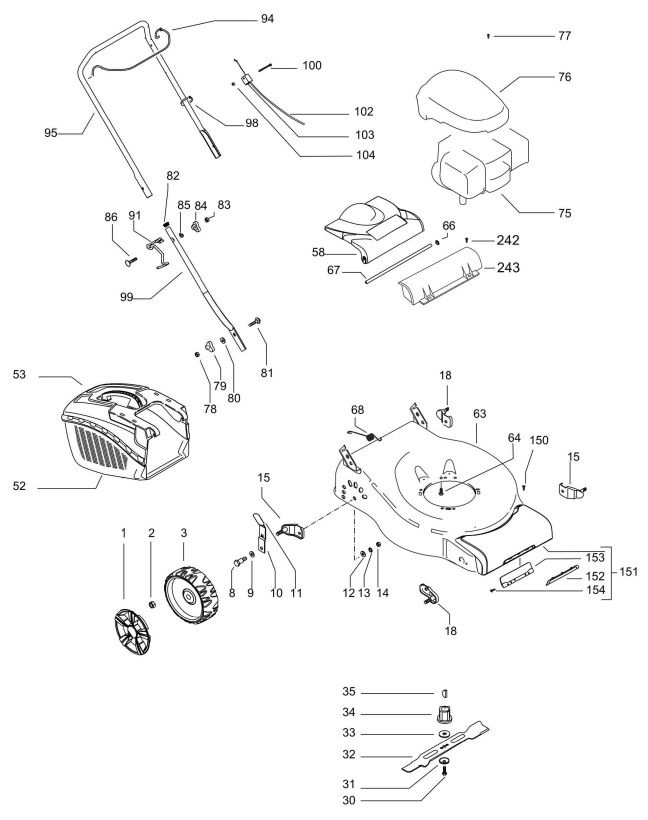 Mcculloch M40 125 96717460104 Lawnmower Spares Parts
