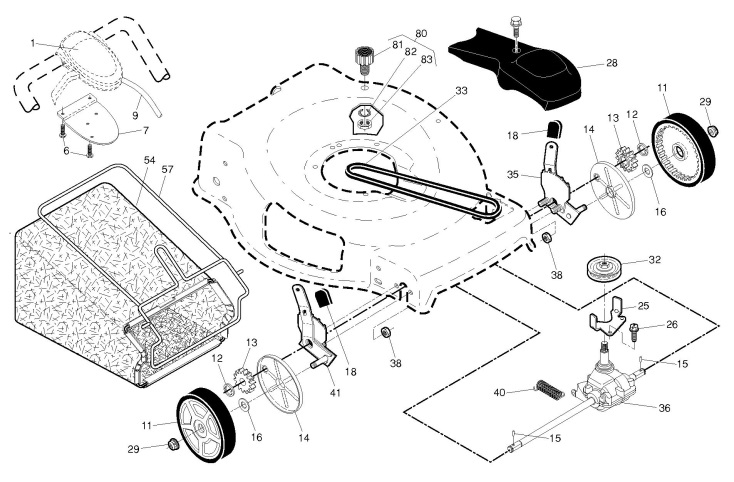 mcculloch m56 190awfpx 96141026201 lawnmower drive spare parts diagram. Black Bedroom Furniture Sets. Home Design Ideas