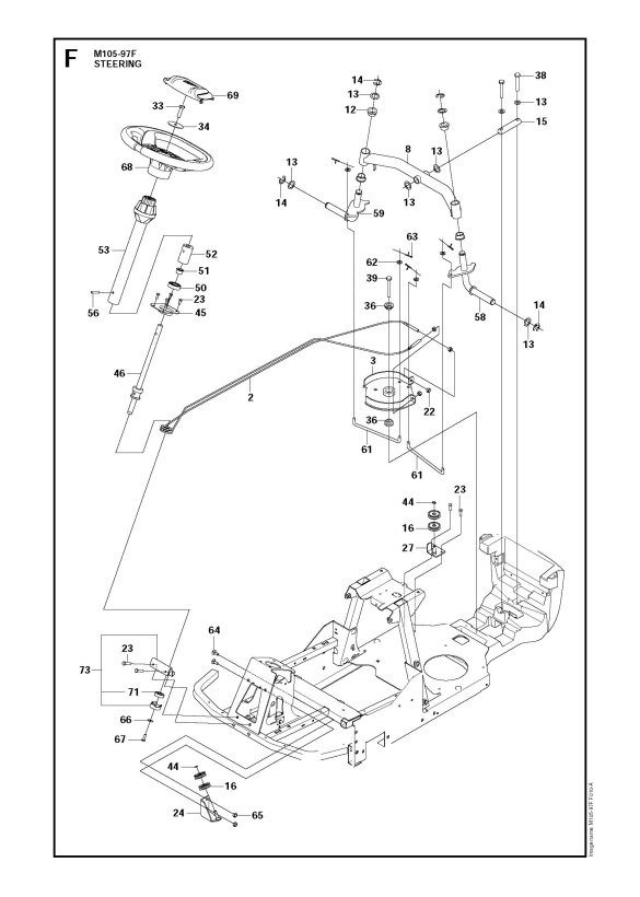 mcculloch m105 97f 966725501 ride on mower steering spare parts diagram
