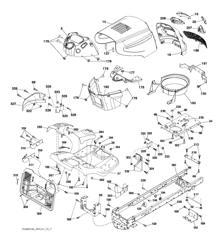 Mcculloch M11577rb  96041016502  Ride On Mower Chassis  U0026 Enclosures Spare Parts Diagram