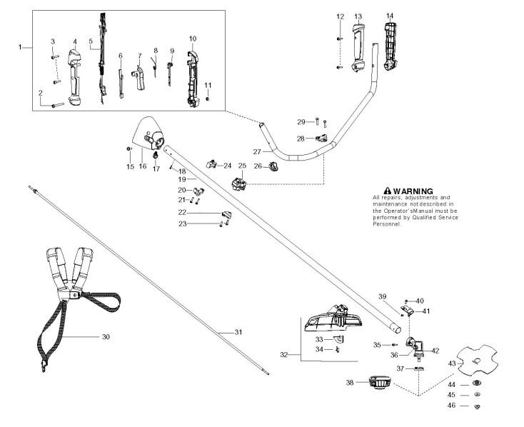 mcculloch b28b  966778601  trimmer shaft  u0026 handle spare