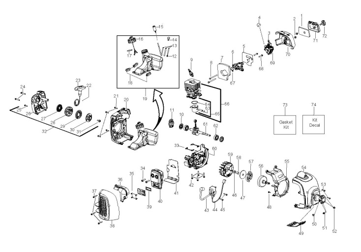mcculloch b28ps  966778401  trimmer engine spare parts diagram