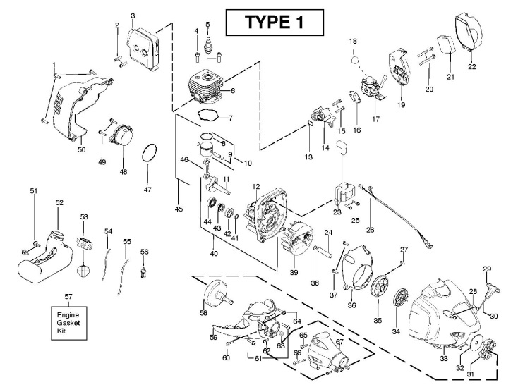 Partner B250 B Gt 952715681 Trimmer Engine Spare Parts Diagram
