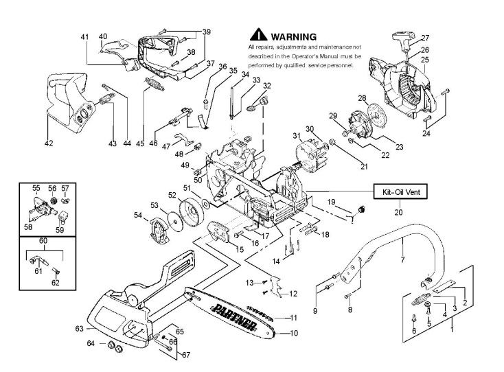 Partner P33 Xt 952802315 Chainsaw Chassis Amp Enclosures