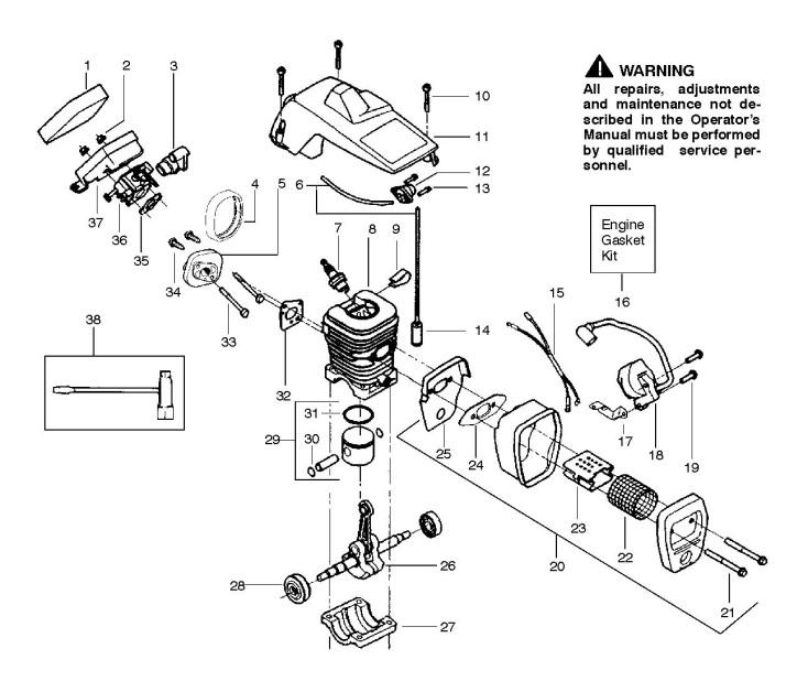 partner p350 chrome  952802174  chainsaw engine spare