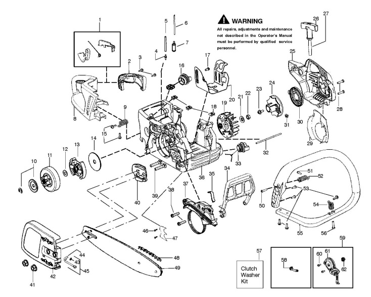 Partner P738 (952802189) Chainsaw CHASSIS / FRAME Spare Parts Diagram