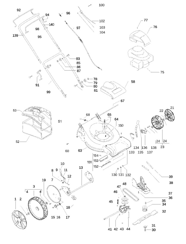 Partner P51 550 Cdw 966483001 Lawnmower Product Complete Spare