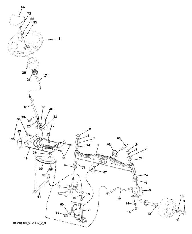 partner p11577  96041009204  ride on mower steering spare