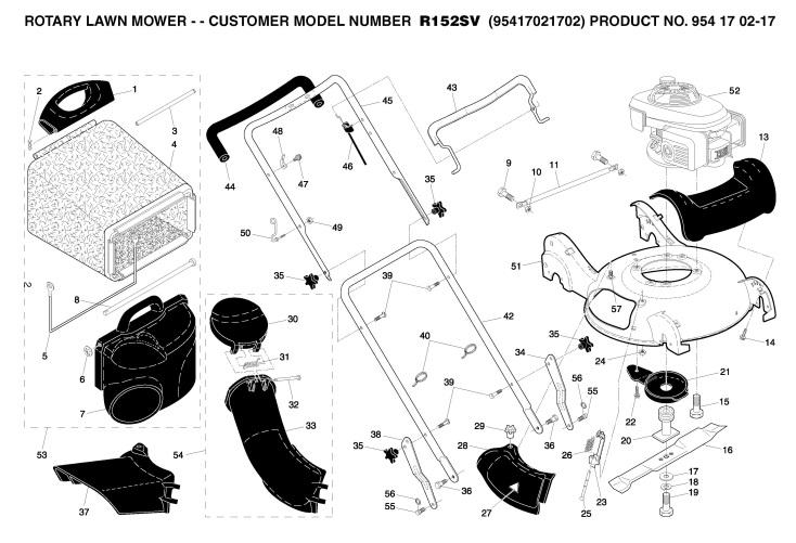 husqvarna r152sv  95417021702  lawnmower frame  u0026 engine spare parts diagram