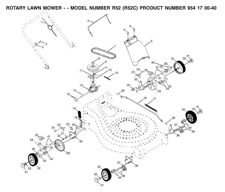 husqvarna royal 52s r52c  954170040  lawnmower wheels  u0026 tires spare parts diagram
