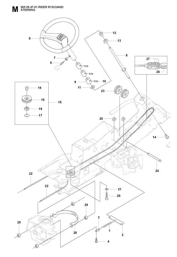 Husqvarna Rider 15v2 Awd 965094701 Ride On Mower Steering Spare