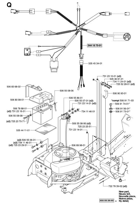 husqvarna rider 15v2 awd  965080101  ride on mower harness spare parts diagram