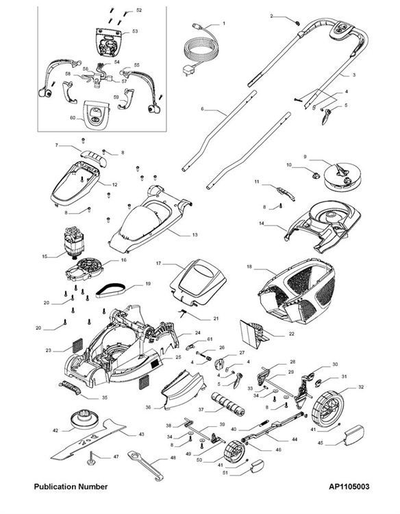 flymo multimo 360xc  966959142  lawnmower product complete spare parts diagram