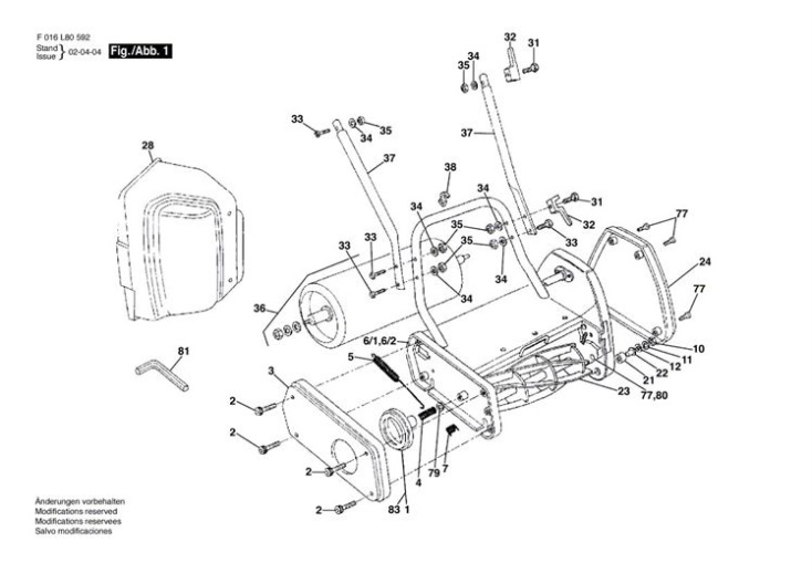 Qualcast Classic Electric 30s  F016l80592  Lawnmower Diagram 1 Spare Parts Diagram