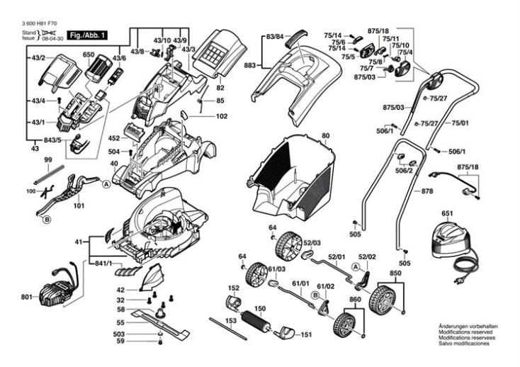 bosch rotak 37 li  3600h81f70  lawnmower diagram 1 spare