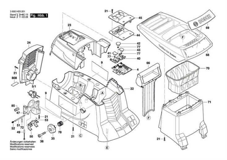 Bosch Axt 25 Tc  3600h03371  Chopper Diagram 1 Spare Parts