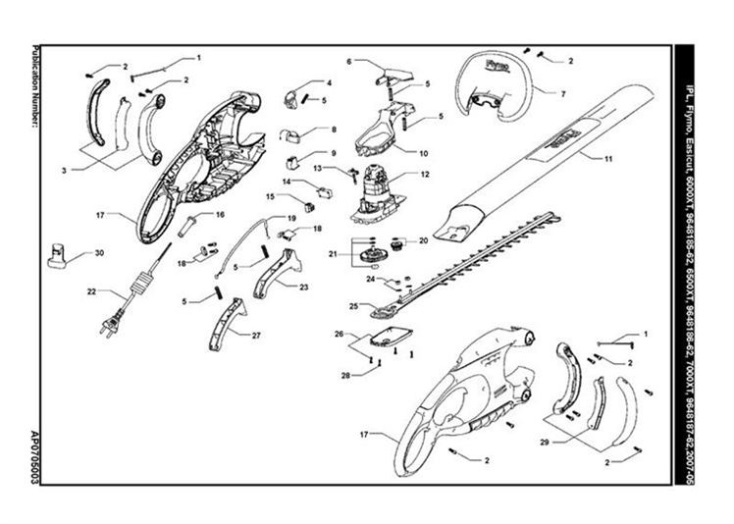flymo easicut 6000xt  6500xt  hedge trimmer product complete spare parts diagram