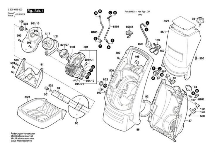 bosch axt rapid 2200  3600h53670  chopper diagram 1 spare parts diagram