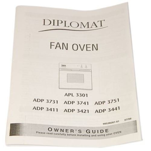 Diplomat Oven Instruction Manual Part Number 87x1042 For